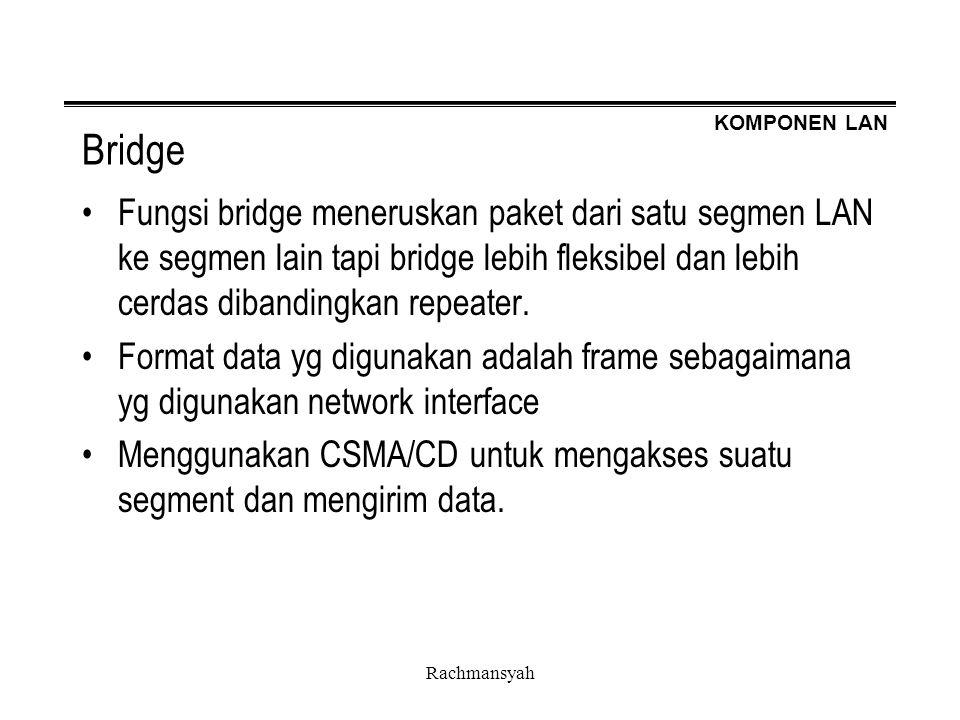 KOMPONEN LAN Rachmansyah Bridge Fungsi bridge meneruskan paket dari satu segmen LAN ke segmen lain tapi bridge lebih fleksibel dan lebih cerdas diband