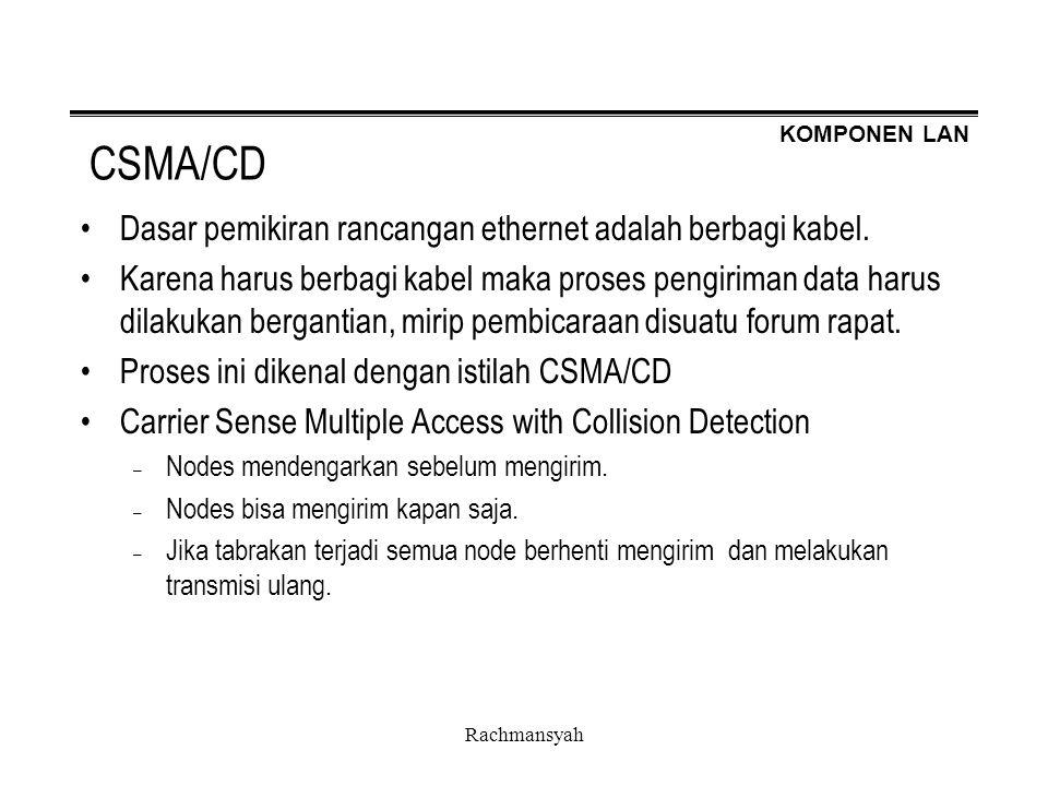 KOMPONEN LAN Rachmansyah CSMA/CD Dasar pemikiran rancangan ethernet adalah berbagi kabel. Karena harus berbagi kabel maka proses pengiriman data harus