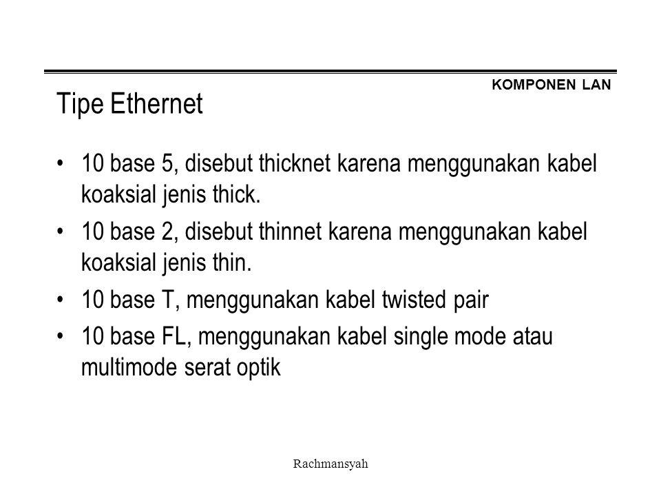 KOMPONEN LAN Rachmansyah Tipe Ethernet 10 base 5, disebut thicknet karena menggunakan kabel koaksial jenis thick. 10 base 2, disebut thinnet karena me