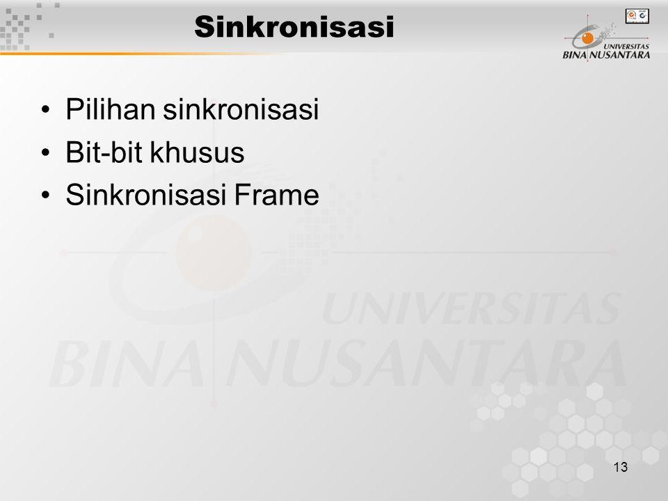 13 Sinkronisasi Pilihan sinkronisasi Bit-bit khusus Sinkronisasi Frame