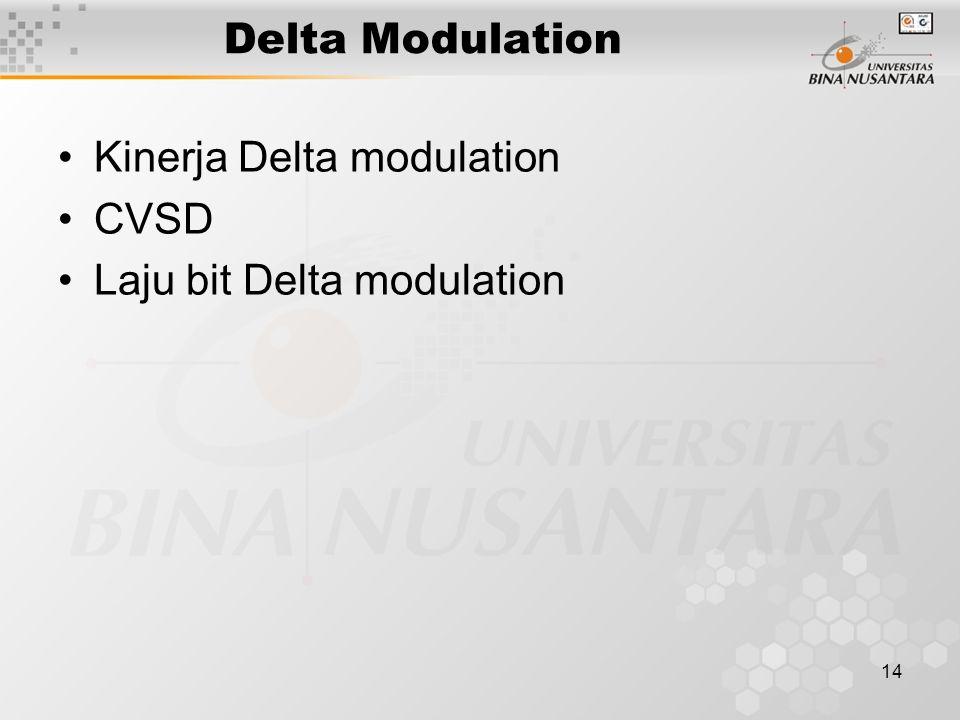 14 Delta Modulation Kinerja Delta modulation CVSD Laju bit Delta modulation
