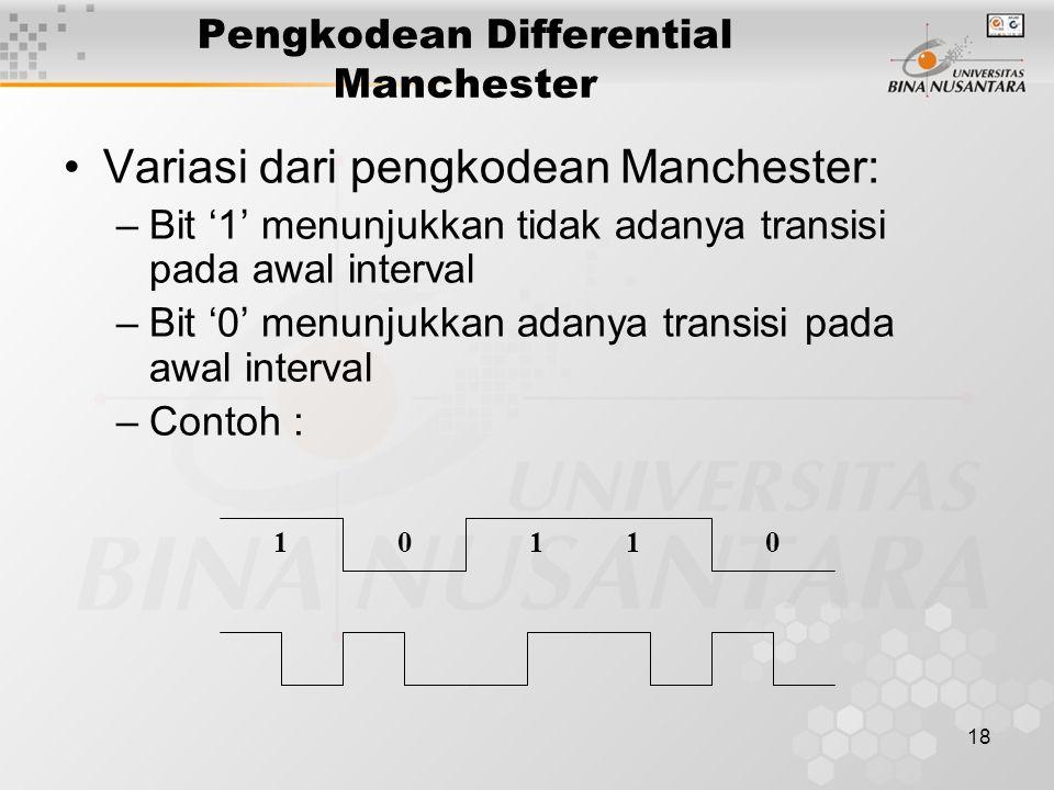18 Pengkodean Differential Manchester Variasi dari pengkodean Manchester: –Bit '1' menunjukkan tidak adanya transisi pada awal interval –Bit '0' menunjukkan adanya transisi pada awal interval –Contoh : 10110