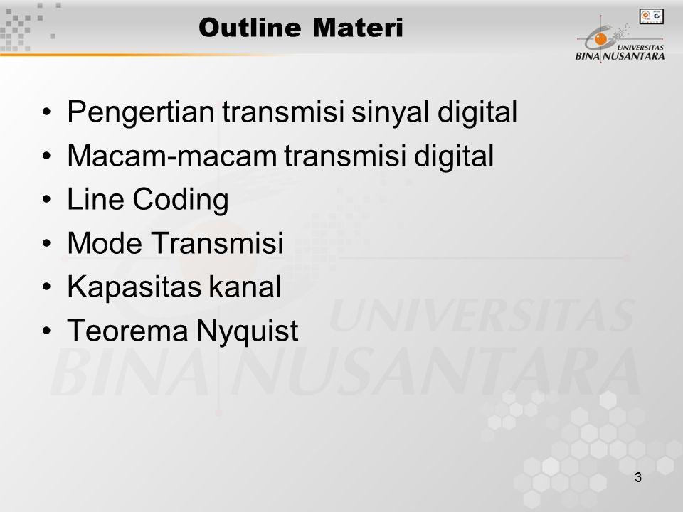 3 Outline Materi Pengertian transmisi sinyal digital Macam-macam transmisi digital Line Coding Mode Transmisi Kapasitas kanal Teorema Nyquist