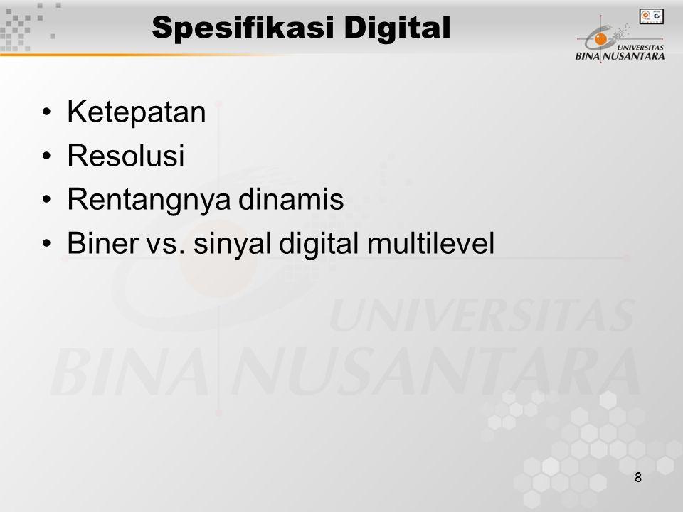 8 Spesifikasi Digital Ketepatan Resolusi Rentangnya dinamis Biner vs. sinyal digital multilevel