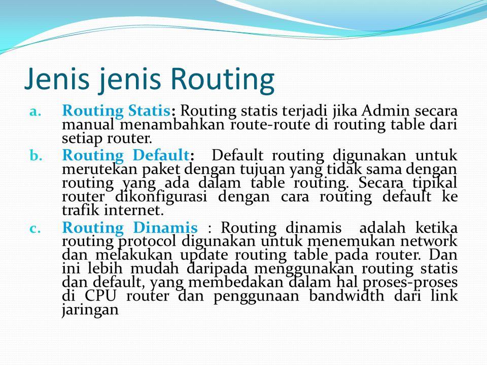 Jenis jenis Routing a. Routing Statis: Routing statis terjadi jika Admin secara manual menambahkan route-route di routing table dari setiap router. b.
