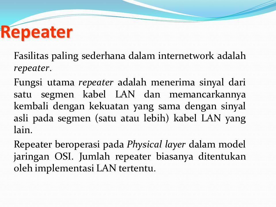 Repeater Fasilitas paling sederhana dalam internetwork adalah repeater. Fungsi utama repeater adalah menerima sinyal dari satu segmen kabel LAN dan me