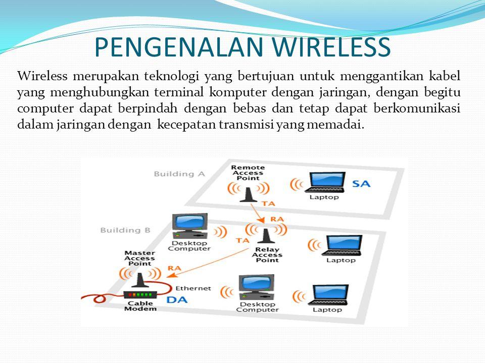 PENGENALAN WIRELESS Wireless merupakan teknologi yang bertujuan untuk menggantikan kabel yang menghubungkan terminal komputer dengan jaringan, dengan