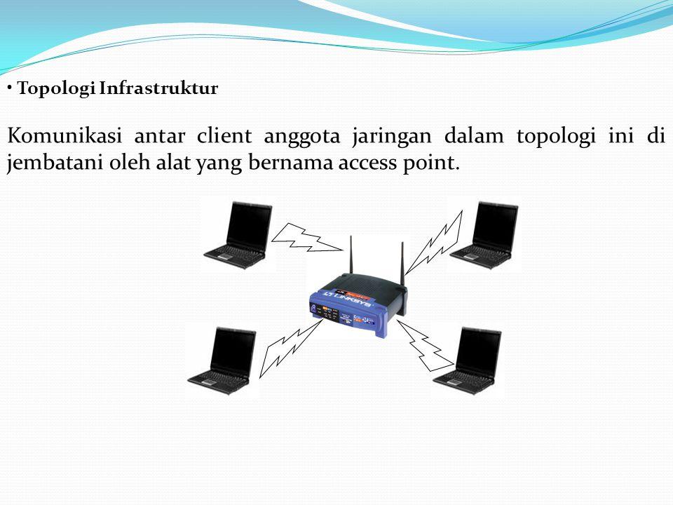 Topologi Infrastruktur Komunikasi antar client anggota jaringan dalam topologi ini di jembatani oleh alat yang bernama access point.