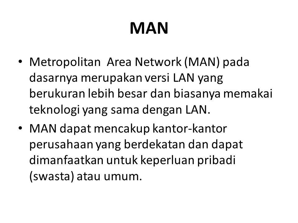 MAN Metropolitan Area Network (MAN) pada dasarnya merupakan versi LAN yang berukuran lebih besar dan biasanya memakai teknologi yang sama dengan LAN.