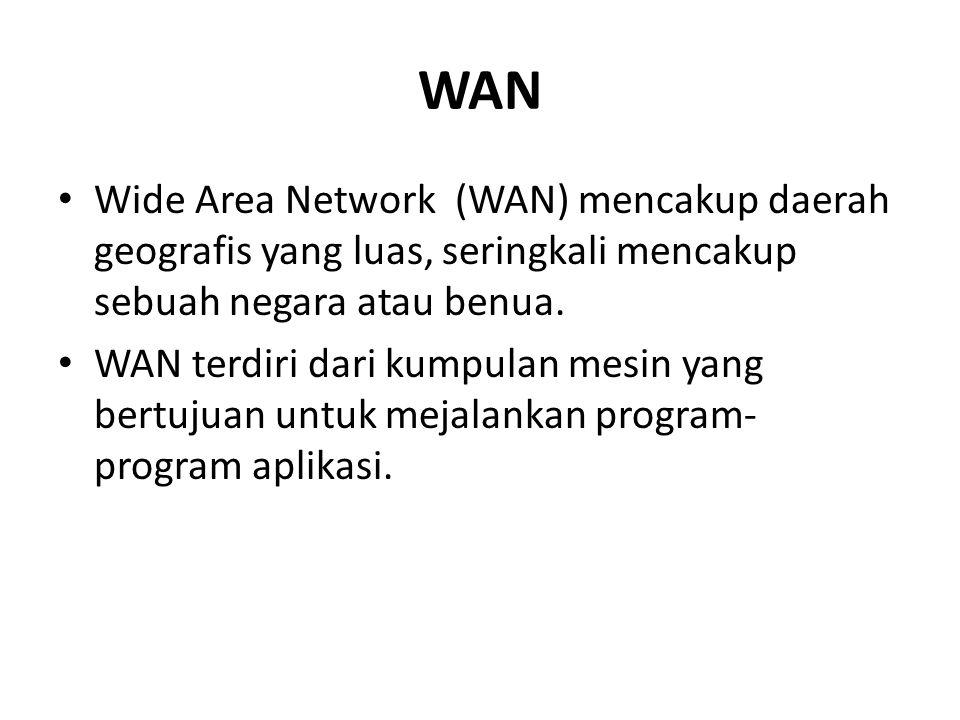 WAN Wide Area Network (WAN) mencakup daerah geografis yang luas, seringkali mencakup sebuah negara atau benua. WAN terdiri dari kumpulan mesin yang be