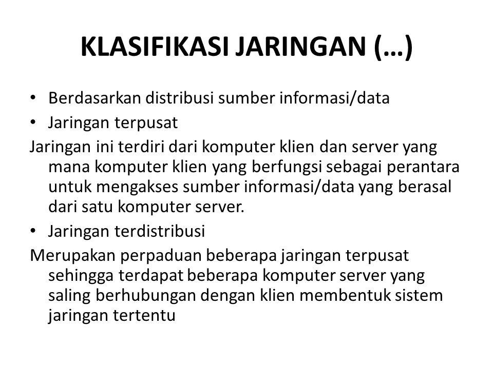 KLASIFIKASI JARINGAN (…) Berdasarkan distribusi sumber informasi/data Jaringan terpusat Jaringan ini terdiri dari komputer klien dan server yang mana