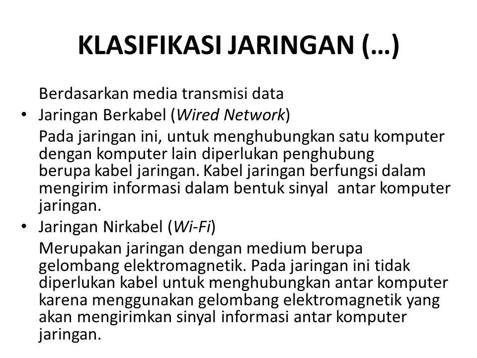 KLASIFIKASI JARINGAN (…) Berdasarkan media transmisi data Jaringan Berkabel (Wired Network) Pada jaringan ini, untuk menghubungkan satu komputer denga