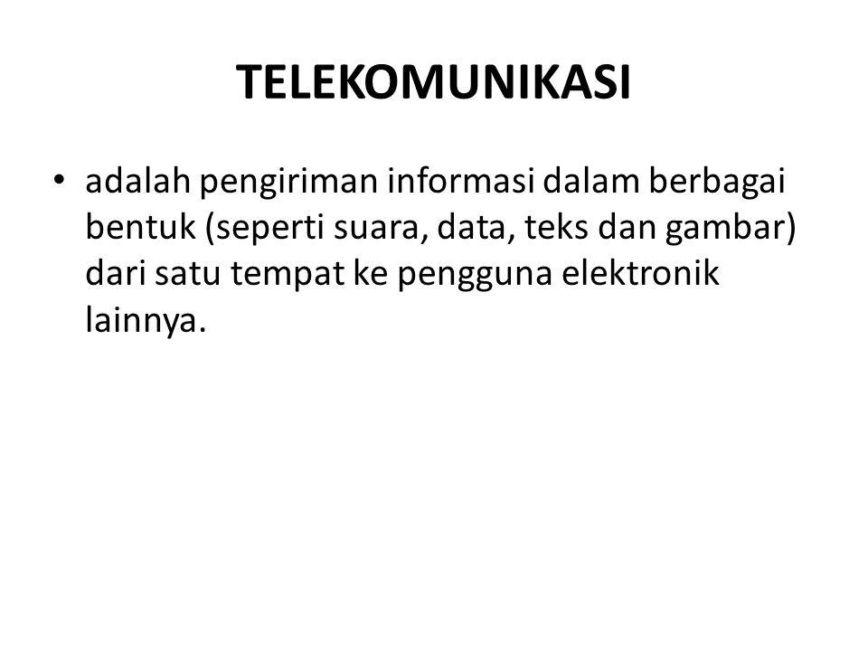 TELEKOMUNIKASI adalah pengiriman informasi dalam berbagai bentuk (seperti suara, data, teks dan gambar) dari satu tempat ke pengguna elektronik lainny