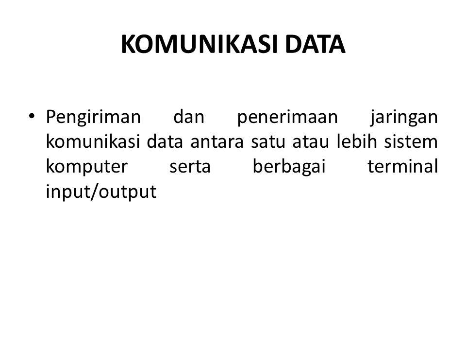 KOMUNIKASI DATA Pengiriman dan penerimaan jaringan komunikasi data antara satu atau lebih sistem komputer serta berbagai terminal input/output