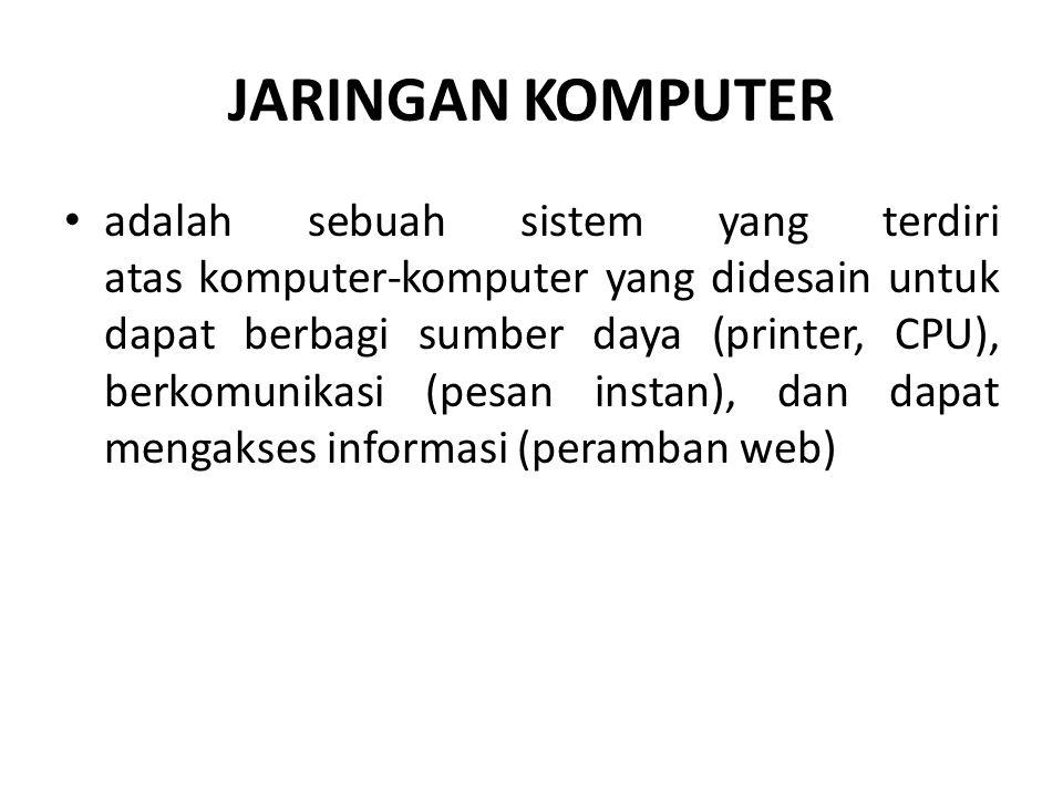 JARINGAN KOMPUTER adalah sebuah sistem yang terdiri atas komputer-komputer yang didesain untuk dapat berbagi sumber daya (printer, CPU), berkomunikasi