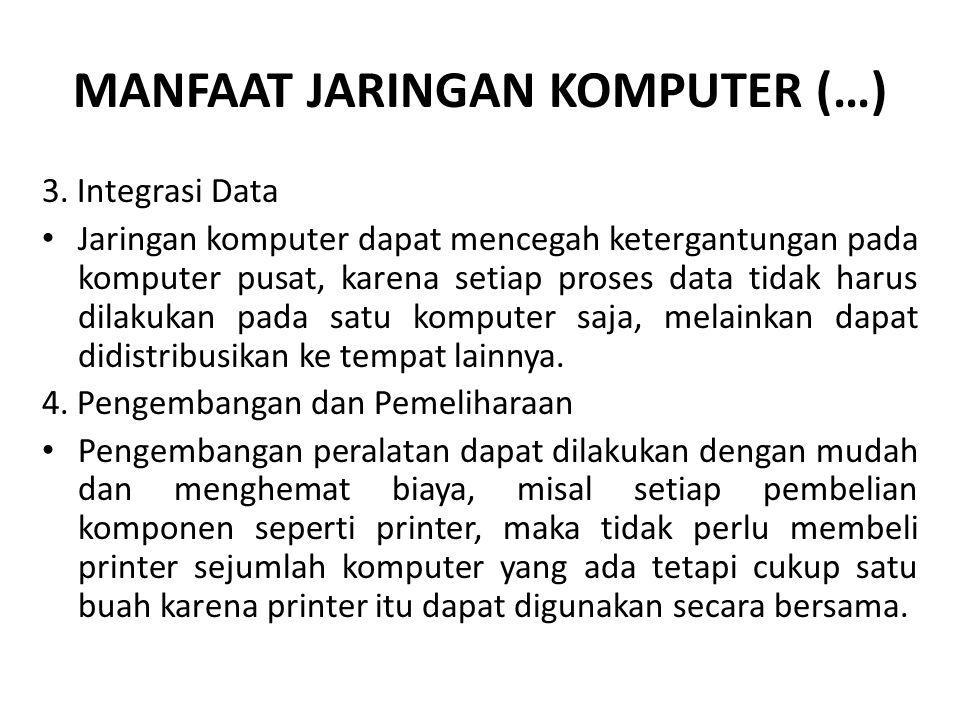MANFAAT JARINGAN KOMPUTER (…) 3. Integrasi Data Jaringan komputer dapat mencegah ketergantungan pada komputer pusat, karena setiap proses data tidak h