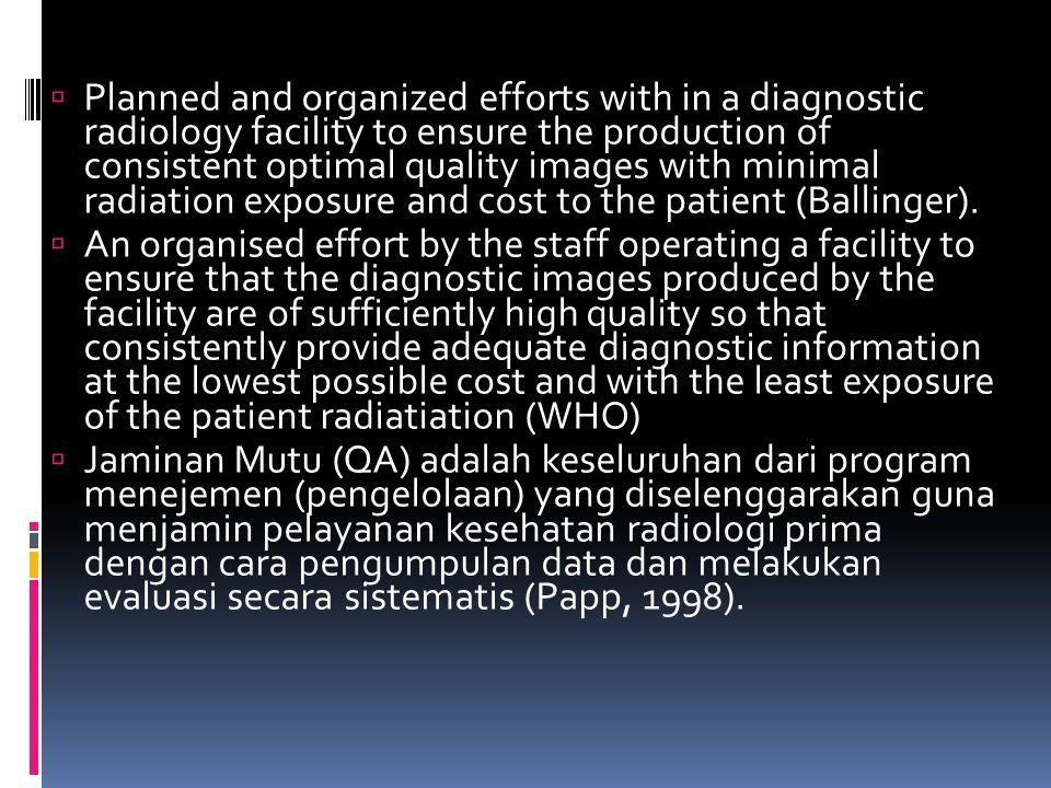 Jaminan Mutu (Quality Assurance)  Upaya yang teratur oleh staf yang mengoperasikan fasilitas untuk menjamin bahwa image diagnostik yang dihasilkan ol