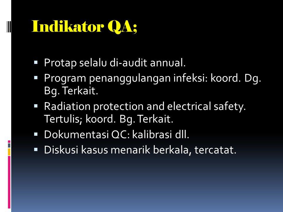 Indikator QA Radiologi.  Kebijakan tertulis agar permintaan pemr. berisi informasi klinis agar pemr.sesuai. Secara periodik di-audit apakah inf. Sesu