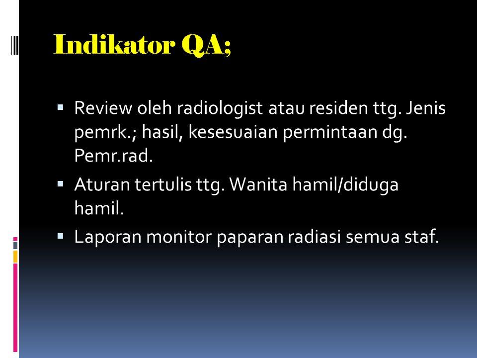 Indikator QA;  Protap selalu di-audit annual.  Program penanggulangan infeksi: koord. Dg. Bg. Terkait.  Radiation protection and electrical safety.