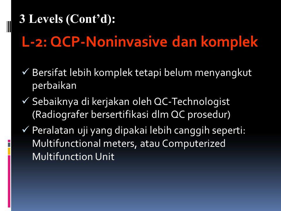 3 Levels & 3 Types Program Kendali Mutu (QCP) L-1: QCP-Noninvasive dan simpel Program pengujian kinerja alat (performance) Bersifat sederhana dan tida