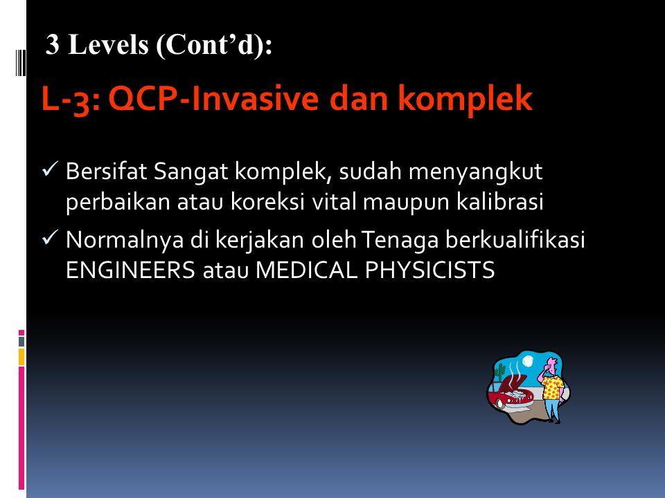 L-2: QCP-Noninvasive dan komplek Bersifat lebih komplek tetapi belum menyangkut perbaikan Sebaiknya di kerjakan oleh QC-Technologist (Radiografer bers