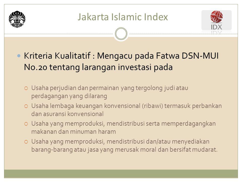 Jakarta Islamic Index Kriteria Kualitatif : Mengacu pada Fatwa DSN-MUI No.20 tentang larangan investasi pada  Usaha perjudian dan permainan yang tergolong judi atau perdagangan yang dilarang  Usaha lembaga keuangan konvensional (ribawi) termasuk perbankan dan asuransi konvensional  Usaha yang memproduksi, mendistribusi serta memperdagangkan makanan dan minuman haram  Usaha yang memproduksi, mendistribusi dan/atau menyediakan barang-barang atau jasa yang merusak moral dan bersifat mudarat.