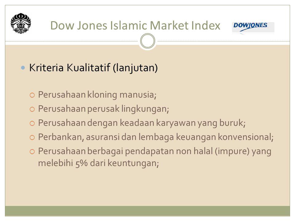 Dow Jones Islamic Market Index Kriteria Kualitatif (lanjutan)  Perusahaan kloning manusia;  Perusahaan perusak lingkungan;  Perusahaan dengan keadaan karyawan yang buruk;  Perbankan, asuransi dan lembaga keuangan konvensional;  Perusahaan berbagai pendapatan non halal (impure) yang melebihi 5% dari keuntungan;