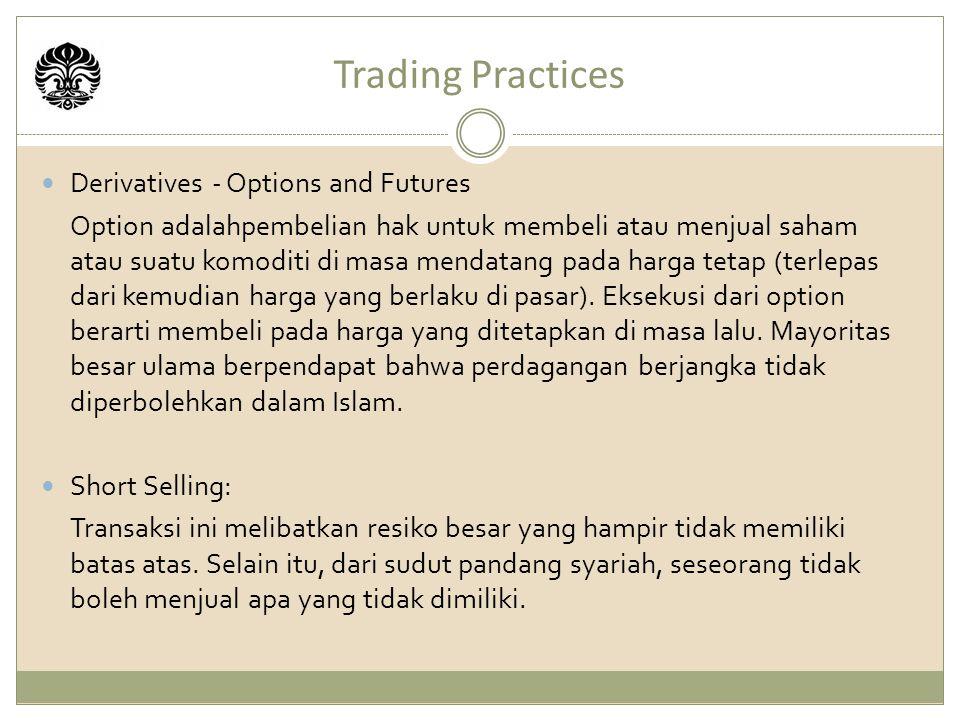 Trading Practices Derivatives - Options and Futures Option adalahpembelian hak untuk membeli atau menjual saham atau suatu komoditi di masa mendatang pada harga tetap (terlepas dari kemudian harga yang berlaku di pasar).