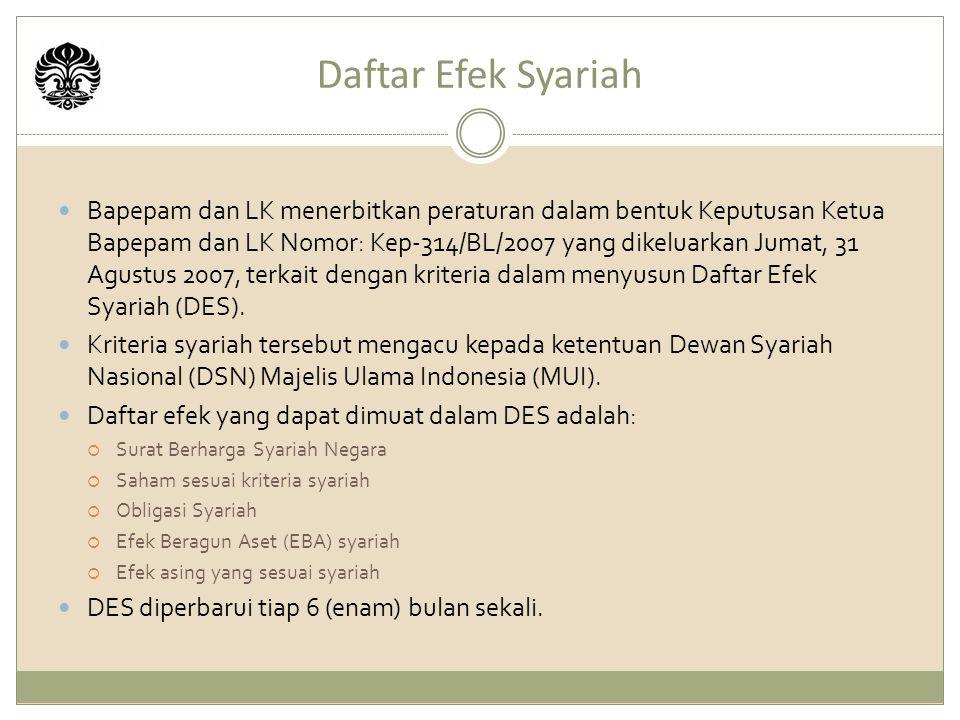 Daftar Efek Syariah Bapepam dan LK menerbitkan peraturan dalam bentuk Keputusan Ketua Bapepam dan LK Nomor: Kep-314/BL/2007 yang dikeluarkan Jumat, 31 Agustus 2007, terkait dengan kriteria dalam menyusun Daftar Efek Syariah (DES).