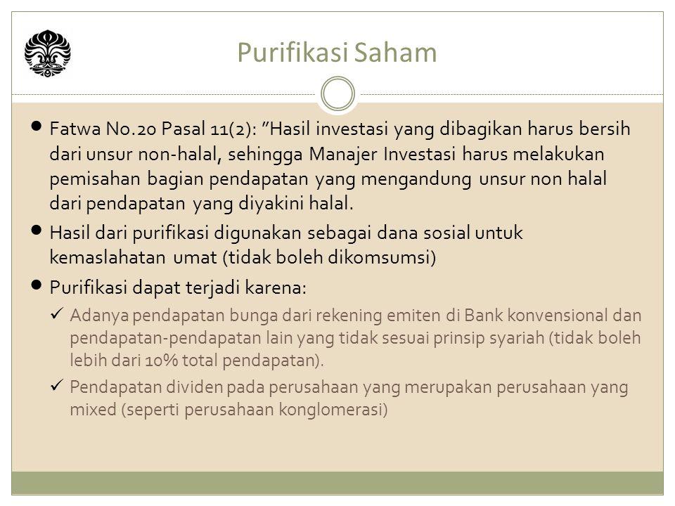 Purifikasi Saham Fatwa No.20 Pasal 11(2): Hasil investasi yang dibagikan harus bersih dari unsur non-halal, sehingga Manajer Investasi harus melakukan pemisahan bagian pendapatan yang mengandung unsur non halal dari pendapatan yang diyakini halal.