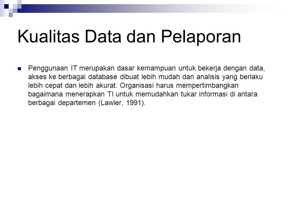 Kualitas Data dan Pelaporan Penggunaan IT merupakan dasar kemampuan untuk bekerja dengan data, akses ke berbagai database dibuat lebih mudah dan anali