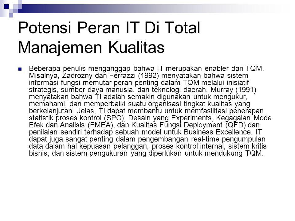 Potensi Peran IT Di Total Manajemen Kualitas Beberapa penulis menganggap bahwa IT merupakan enabler dari TQM. Misalnya, Zadrozny dan Ferrazzi (1992) m