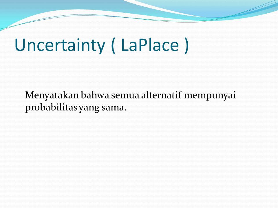 Uncertainty ( LaPlace ) Menyatakan bahwa semua alternatif mempunyai probabilitas yang sama.