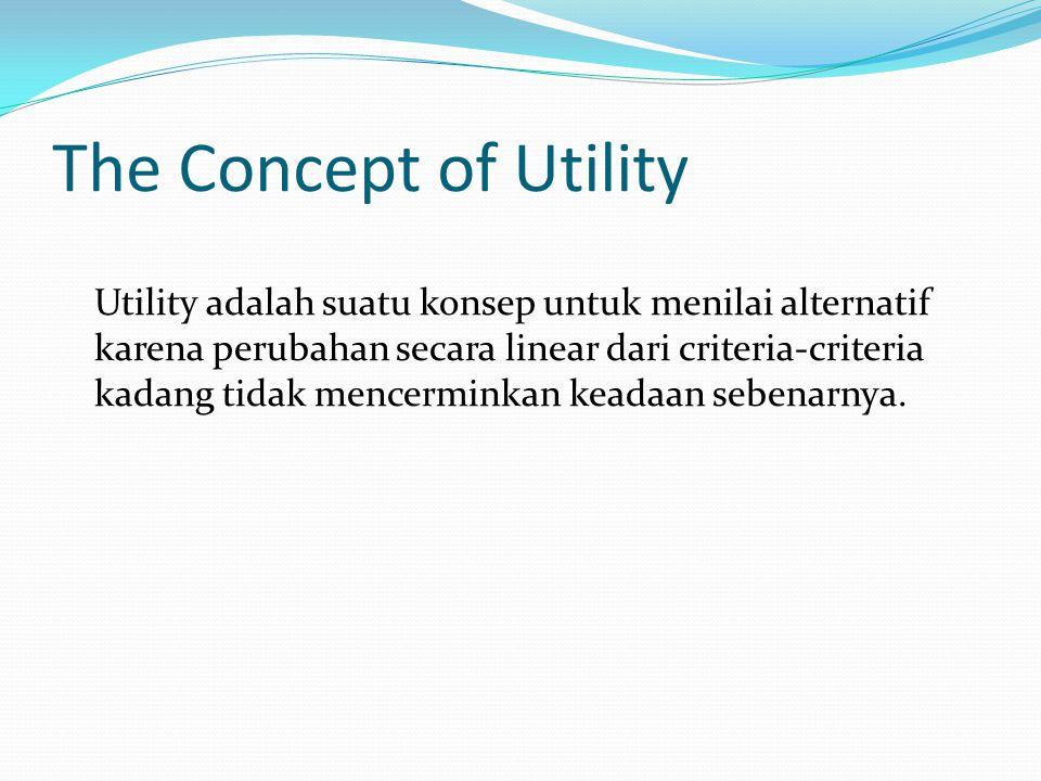 The Concept of Utility Utility adalah suatu konsep untuk menilai alternatif karena perubahan secara linear dari criteria-criteria kadang tidak mencerminkan keadaan sebenarnya.