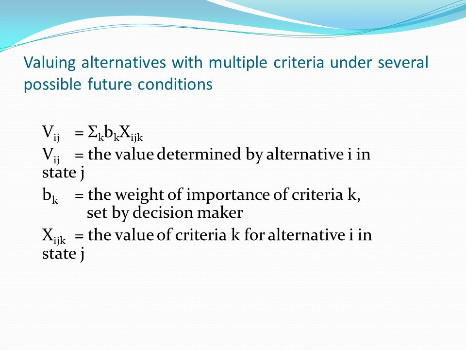 Other Decision Rules Uncertainty ( LaPlace) Pessimism ( maximin ) Optimism ( maximax ) Regret ( minimax )