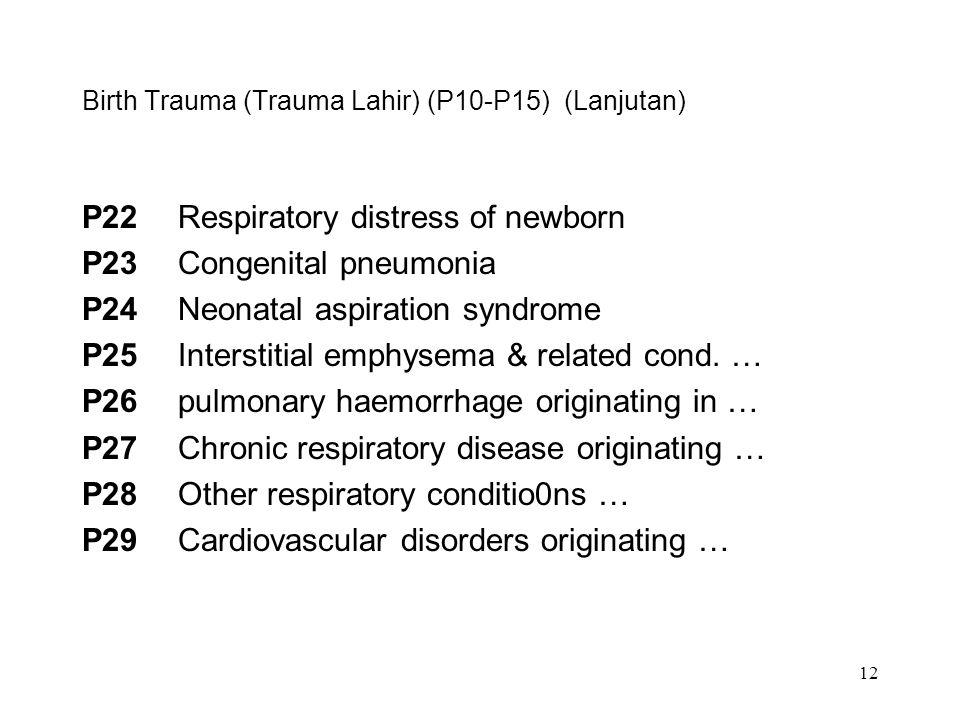 12 Birth Trauma (Trauma Lahir) (P10-P15) (Lanjutan) P22Respiratory distress of newborn P23Congenital pneumonia P24Neonatal aspiration syndrome P25Inte