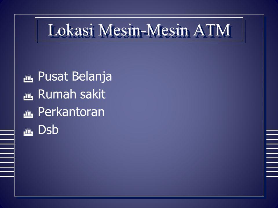 Lokasi Mesin-Mesin ATM  Pusat Belanja  Rumah sakit  Perkantoran  Dsb