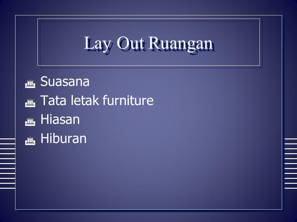 Lay Out Ruangan  Suasana  Tata letak furniture  Hiasan  Hiburan