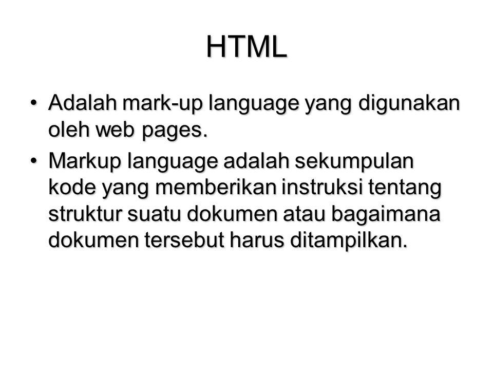 HTML Adalah mark-up language yang digunakan oleh web pages.Adalah mark-up language yang digunakan oleh web pages. Markup language adalah sekumpulan ko
