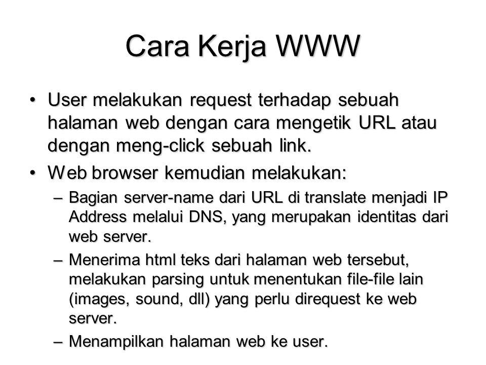 Cara Kerja WWW User melakukan request terhadap sebuah halaman web dengan cara mengetik URL atau dengan meng-click sebuah link.User melakukan request t