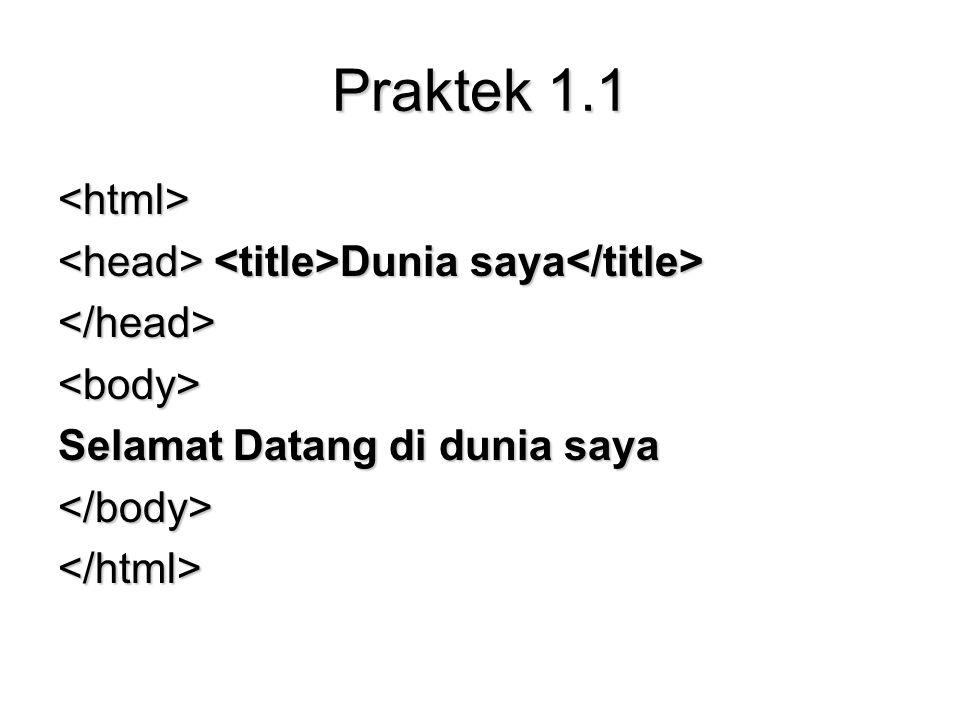 Praktek 1.1 <html> Dunia saya Dunia saya </head><body> Selamat Datang di dunia saya </body></html>