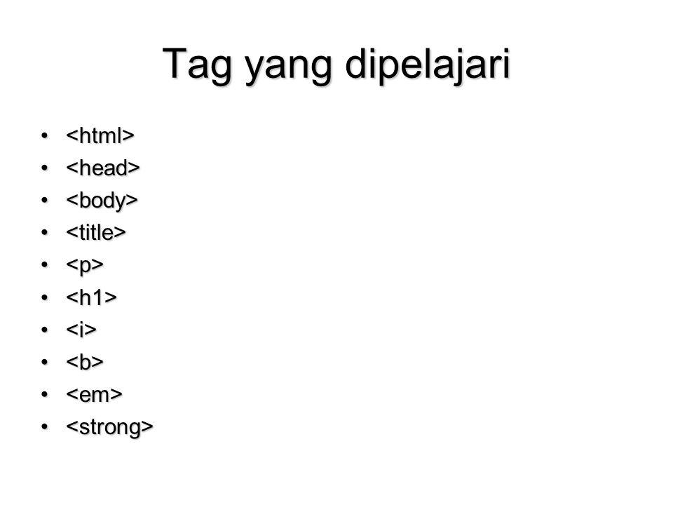 Tag yang dipelajari