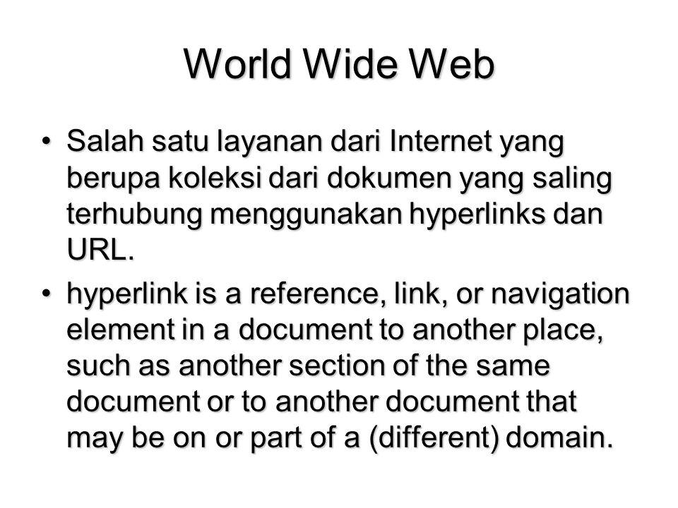 World Wide Web Salah satu layanan dari Internet yang berupa koleksi dari dokumen yang saling terhubung menggunakan hyperlinks dan URL.Salah satu layan