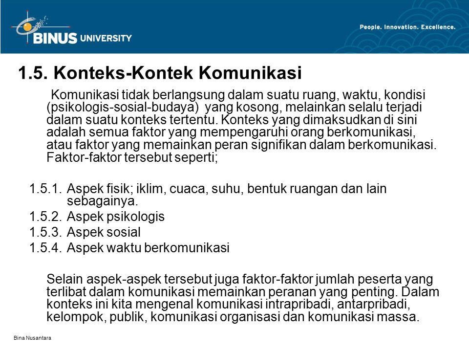 Bina Nusantara 1.5. Konteks-Kontek Komunikasi Komunikasi tidak berlangsung dalam suatu ruang, waktu, kondisi (psikologis-sosial-budaya) yang kosong, m