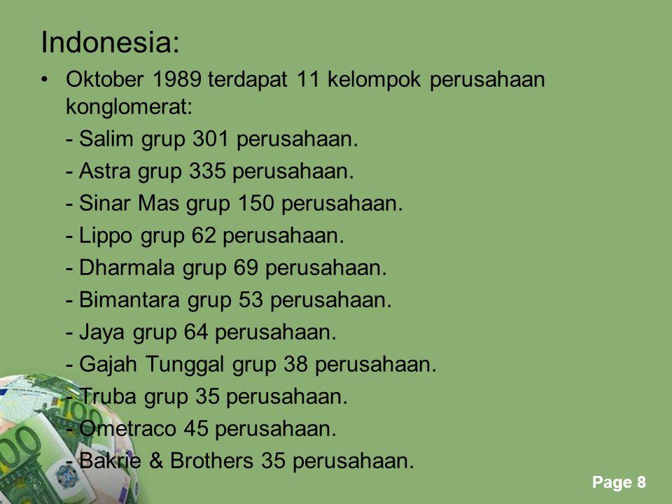Powerpoint Templates Page 8 Indonesia: Oktober 1989 terdapat 11 kelompok perusahaan konglomerat: - Salim grup 301 perusahaan. - Astra grup 335 perusah