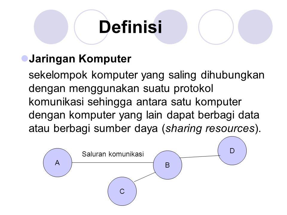 Jaringan Komputer sekelompok komputer yang saling dihubungkan dengan menggunakan suatu protokol komunikasi sehingga antara satu komputer dengan komput