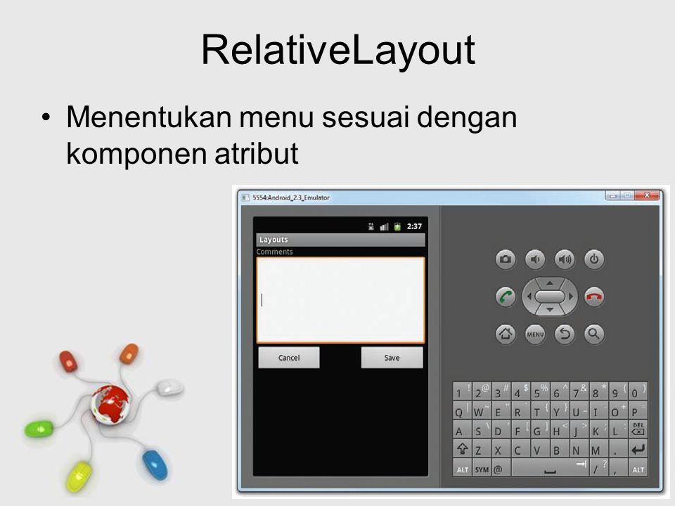 Free Powerpoint Templates Page 9 RelativeLayout Menentukan menu sesuai dengan komponen atribut
