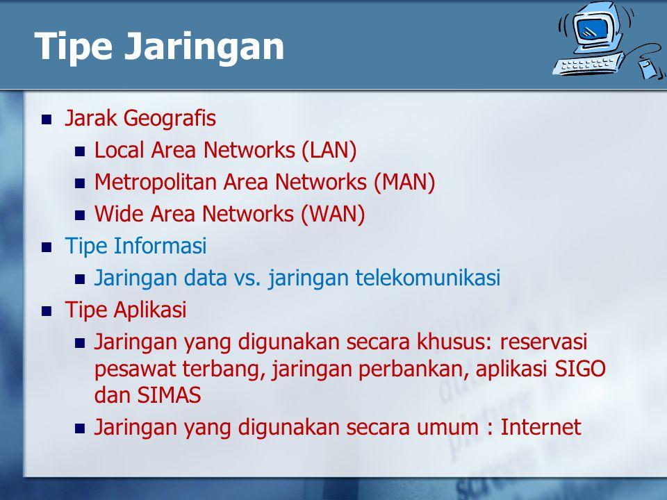 Tipe Jaringan Jarak Geografis Local Area Networks (LAN) Metropolitan Area Networks (MAN) Wide Area Networks (WAN) Tipe Informasi Jaringan data vs.