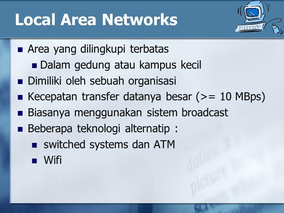 Local Area Networks Area yang dilingkupi terbatas Dalam gedung atau kampus kecil Dimiliki oleh sebuah organisasi Kecepatan transfer datanya besar (>= 10 MBps) Biasanya menggunakan sistem broadcast Beberapa teknologi alternatip : switched systems dan ATM Wifi
