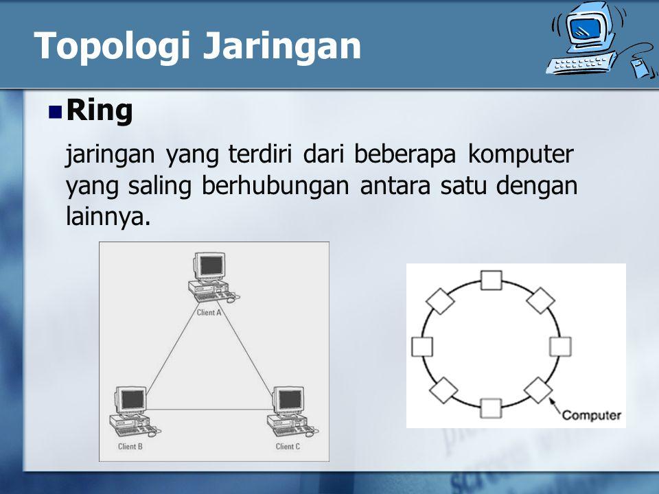 Topologi Jaringan Ring jaringan yang terdiri dari beberapa komputer yang saling berhubungan antara satu dengan lainnya.